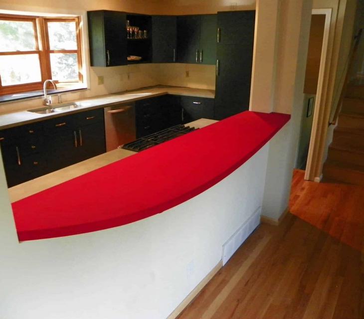 Red concrete countertop