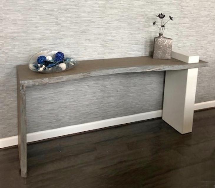 Concrete and white oak console table